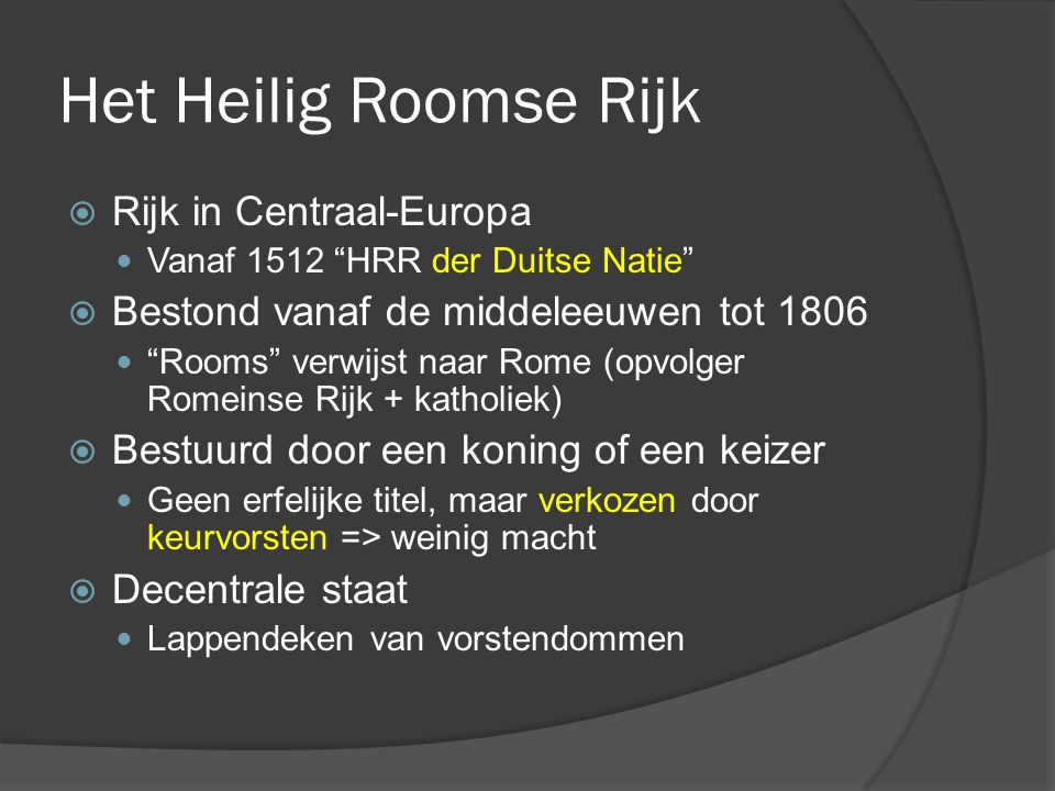 Het Heilig Roomse Rijk Rijk in Centraal-Europa