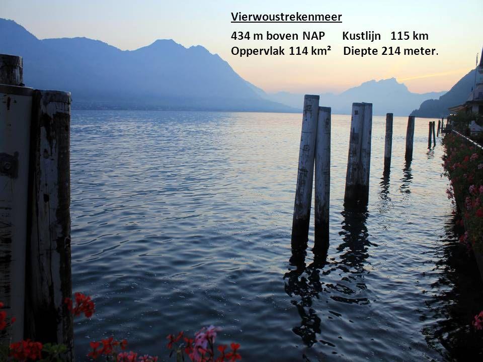 Vierwoustrekenmeer 434 m boven NAP Kustlijn 115 km Oppervlak 114 km² Diepte 214 meter.