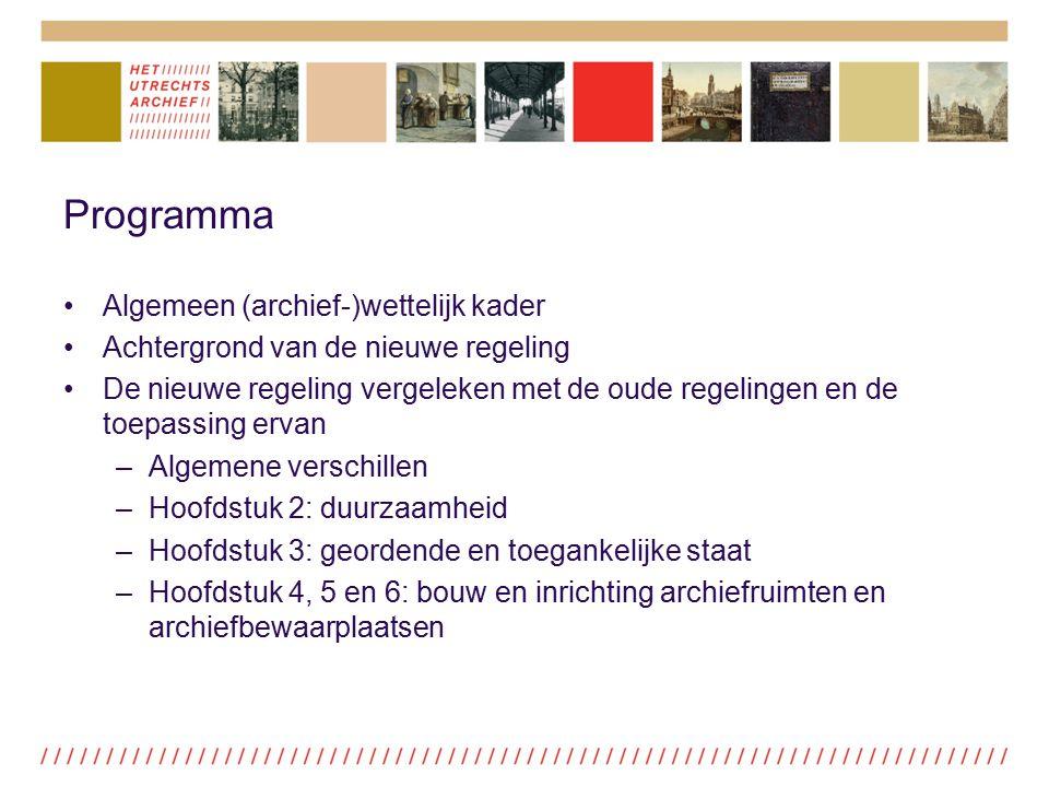 Programma Algemeen (archief-)wettelijk kader
