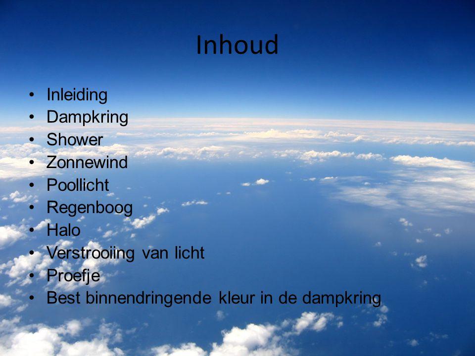 Inhoud Inleiding Dampkring Shower Zonnewind Poollicht Regenboog Halo