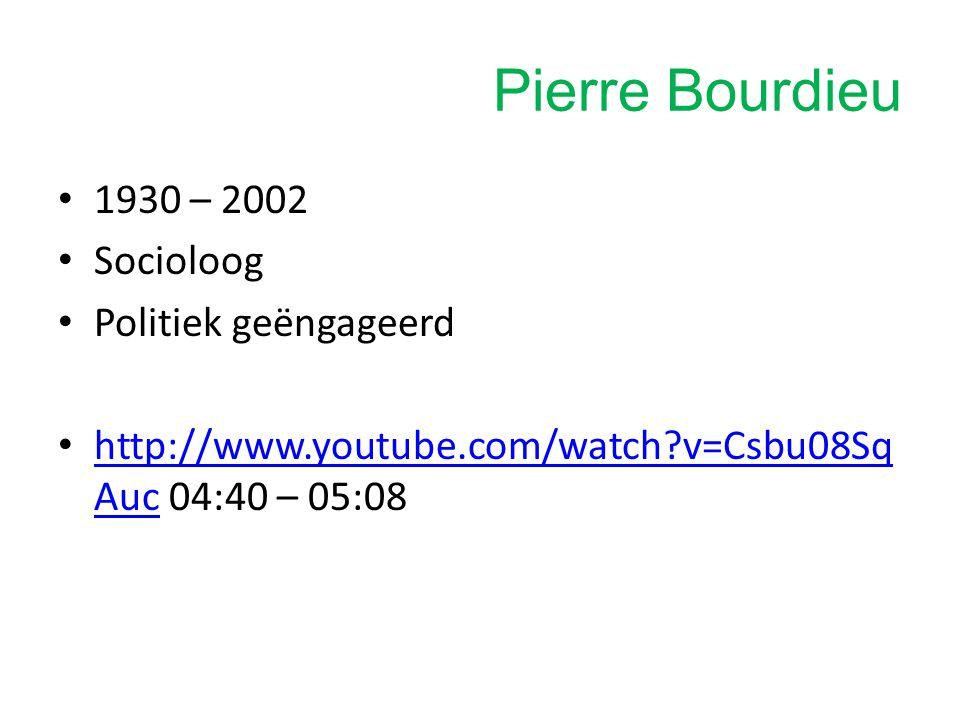 Pierre Bourdieu 1930 – 2002 Socioloog Politiek geëngageerd