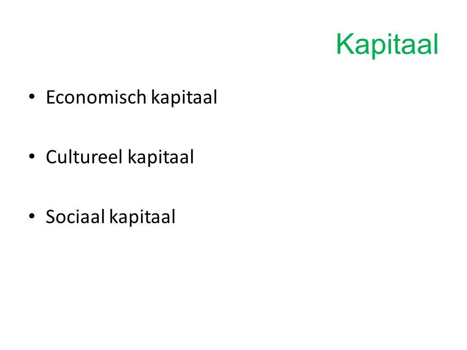 Kapitaal Economisch kapitaal Cultureel kapitaal Sociaal kapitaal
