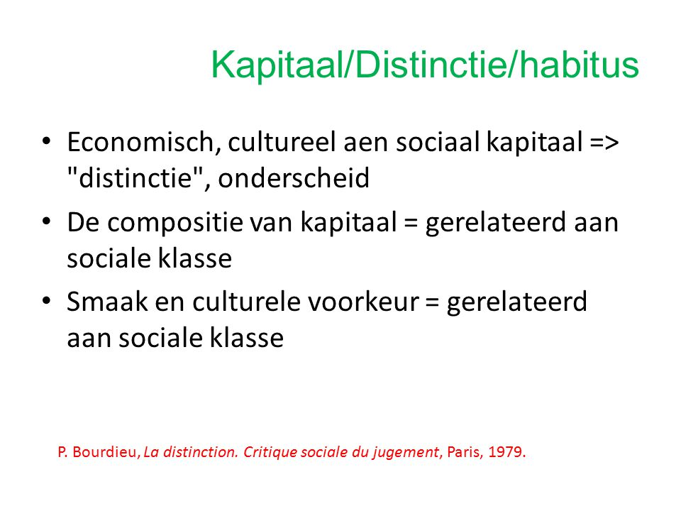Kapitaal/Distinctie/habitus