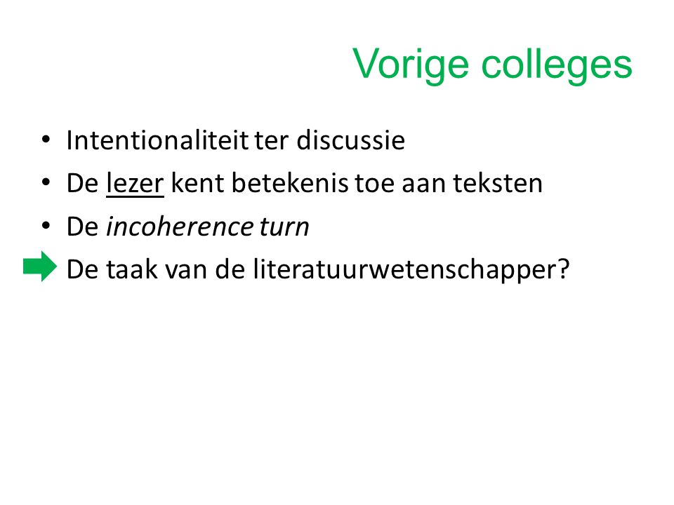 Vorige colleges Intentionaliteit ter discussie