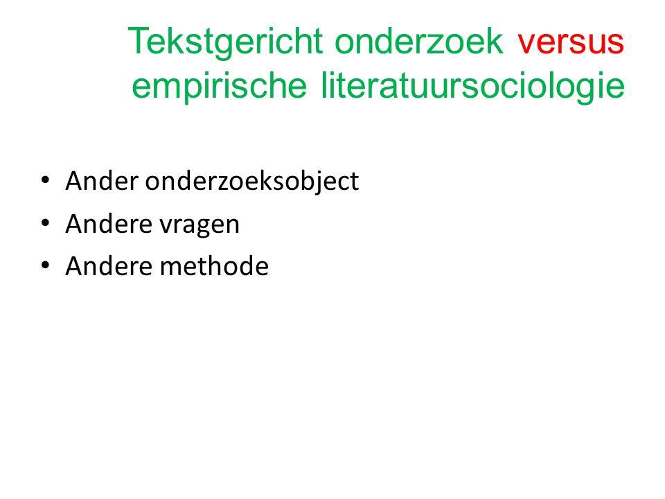 Tekstgericht onderzoek versus empirische literatuursociologie