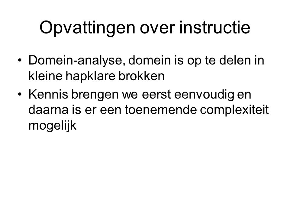 Opvattingen over instructie