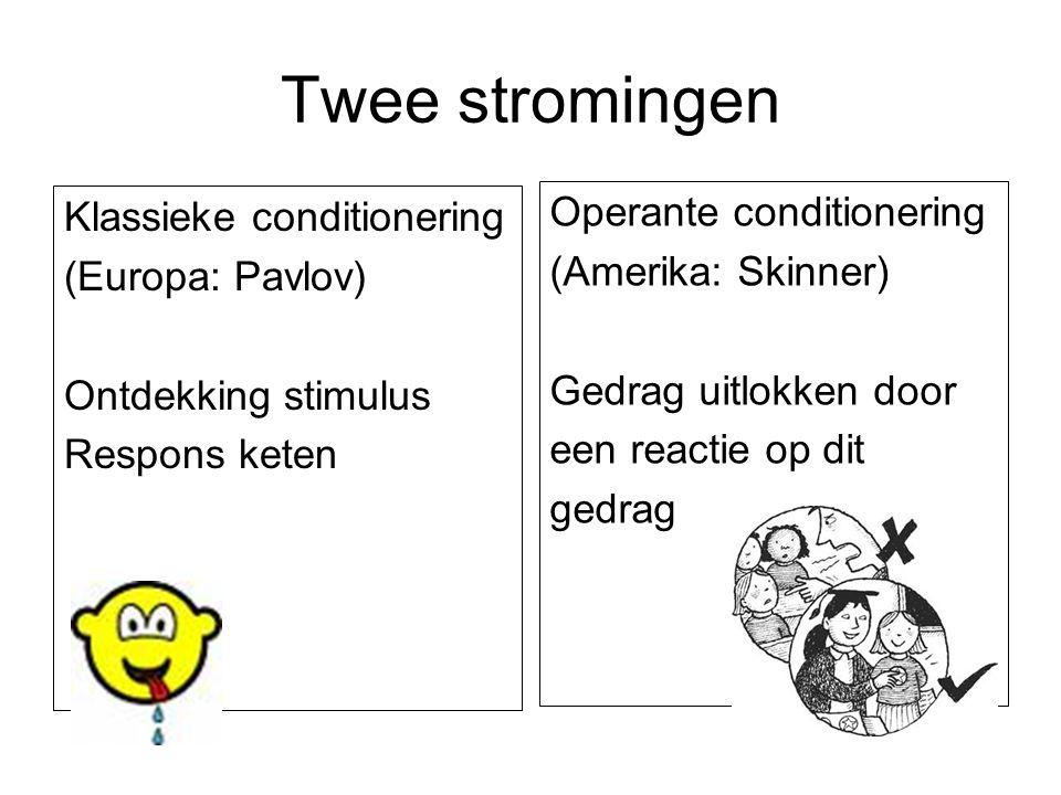 Twee stromingen Operante conditionering Klassieke conditionering