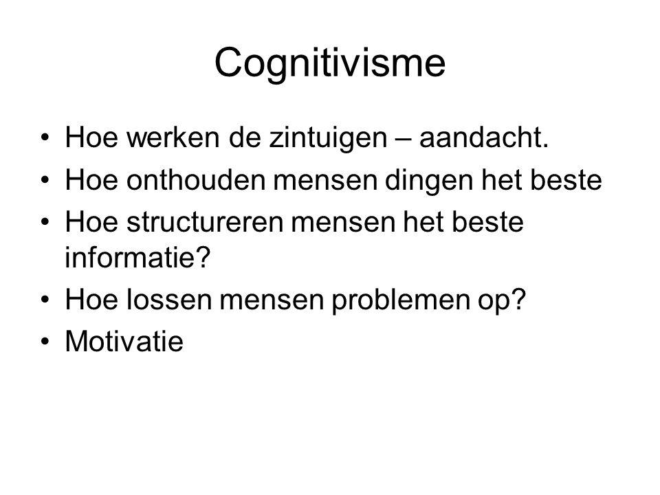 Cognitivisme Hoe werken de zintuigen – aandacht.