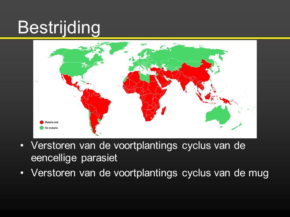 Bestrijding Verstoren van de voortplantings cyclus van de eencellige parasiet.
