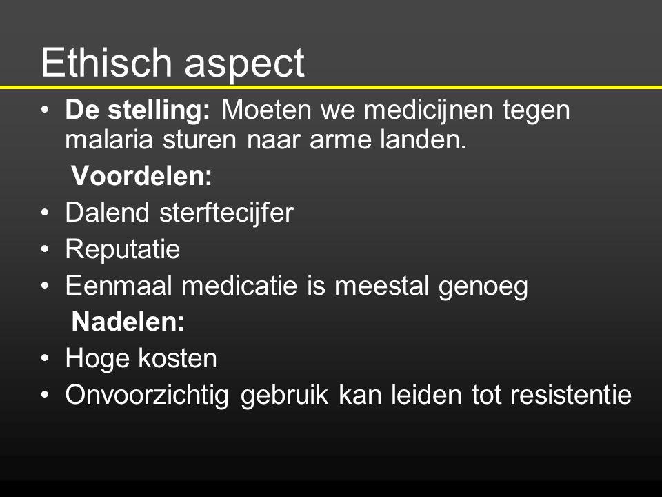 Ethisch aspect De stelling: Moeten we medicijnen tegen malaria sturen naar arme landen. Voordelen: