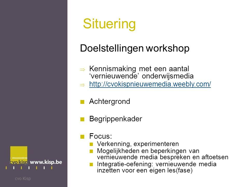 Situering Doelstellingen workshop