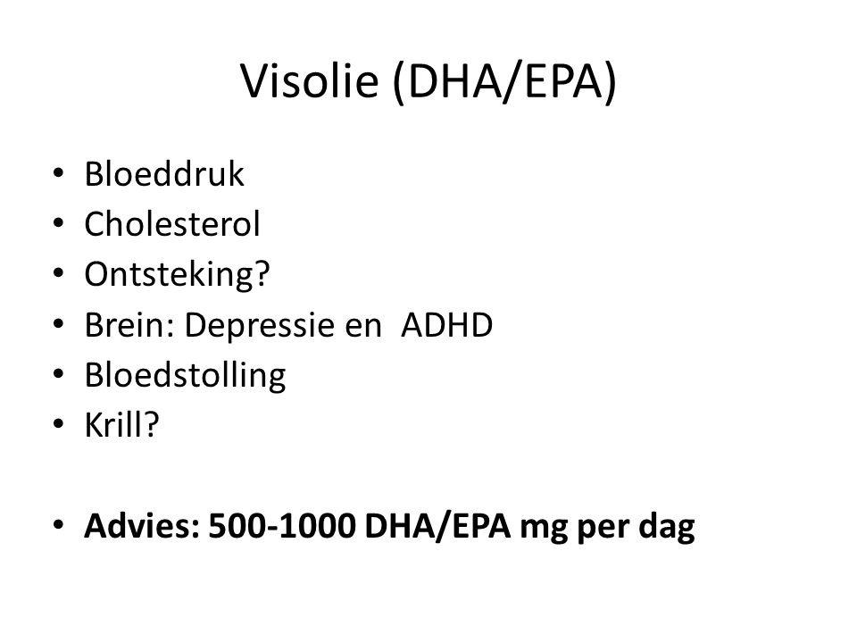 Visolie (DHA/EPA) Bloeddruk Cholesterol Ontsteking