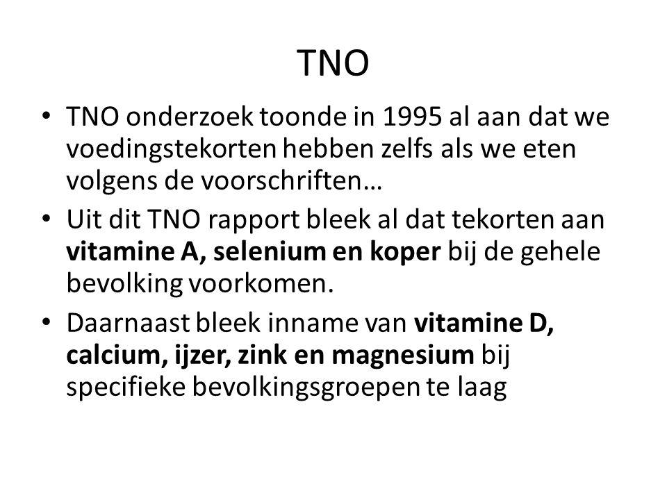 TNO TNO onderzoek toonde in 1995 al aan dat we voedingstekorten hebben zelfs als we eten volgens de voorschriften…