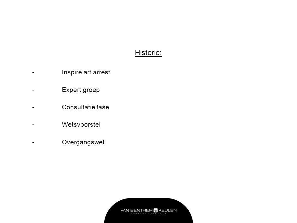 Historie: - Inspire art arrest - Expert groep - Consultatie fase