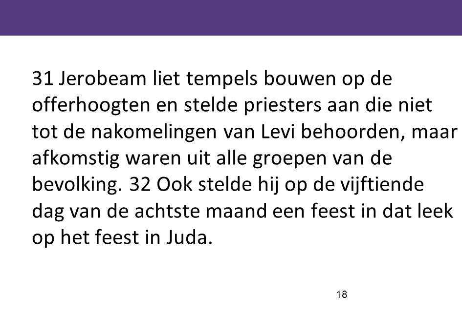 31 Jerobeam liet tempels bouwen op de offerhoogten en stelde priesters aan die niet tot de nakomelingen van Levi behoorden, maar afkomstig waren uit alle groepen van de bevolking.