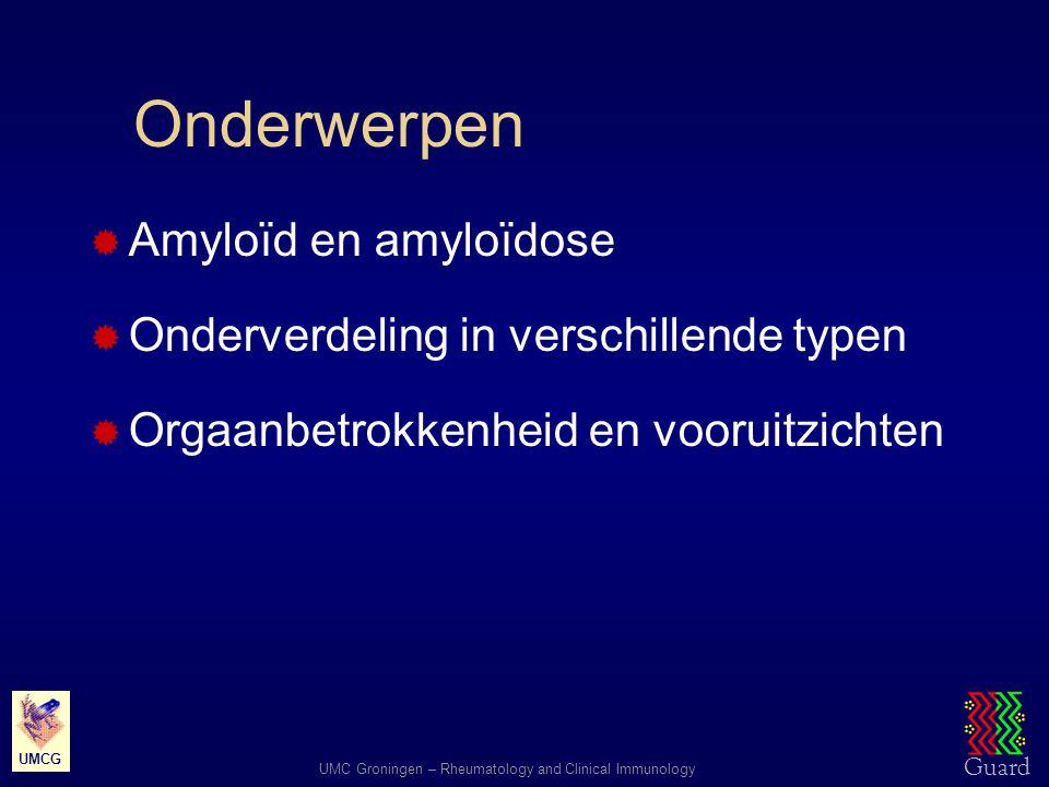 Onderwerpen Amyloïd en amyloïdose