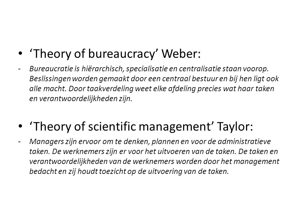 'Theory of bureaucracy' Weber:
