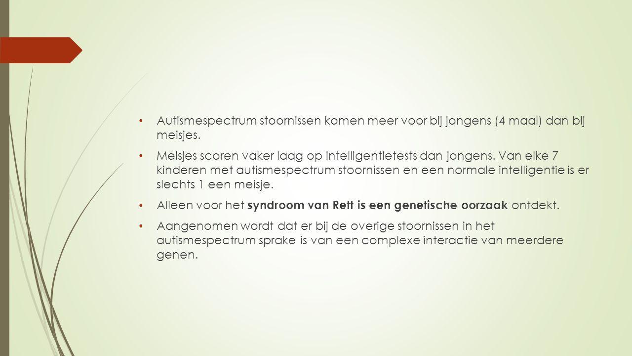 Autismespectrum stoornissen komen meer voor bij jongens (4 maal) dan bij meisjes.