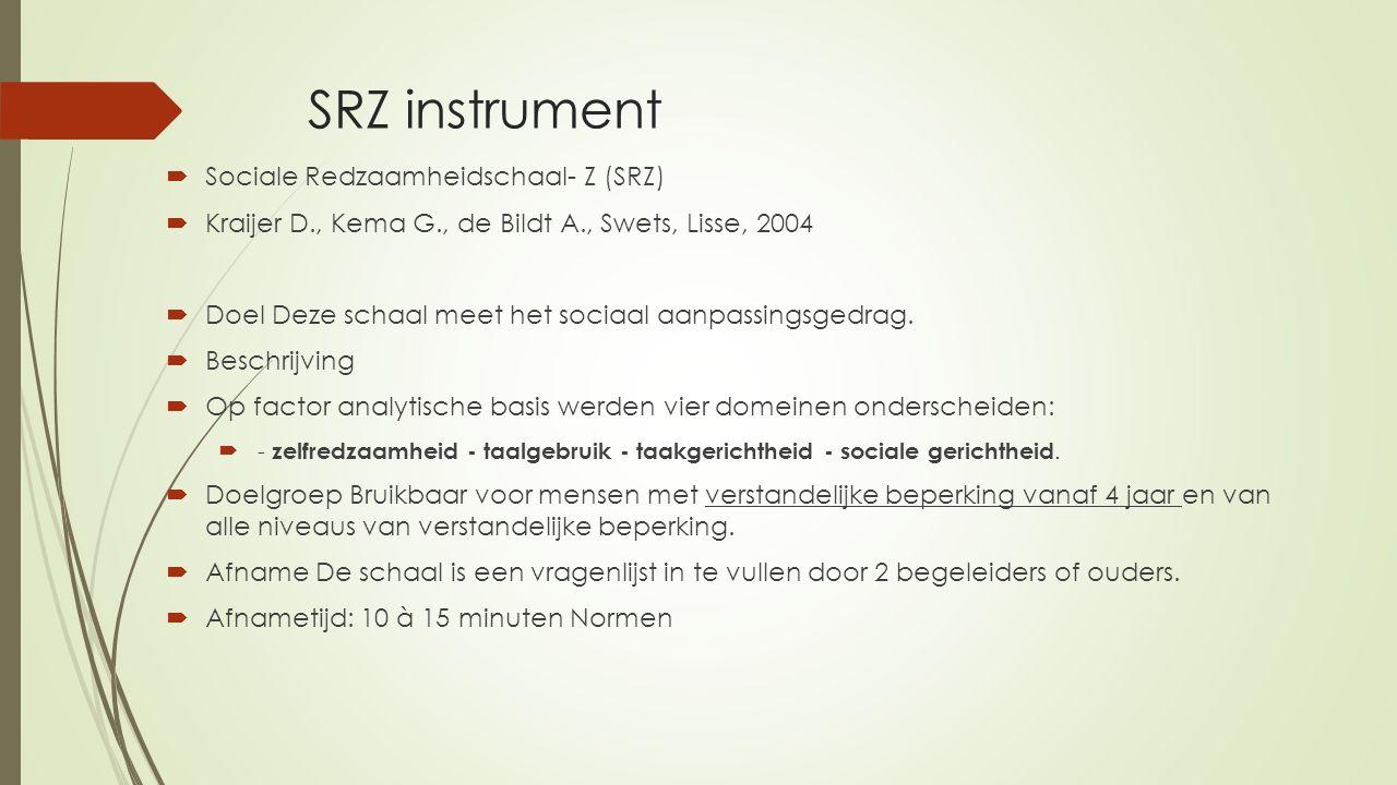 SRZ instrument Sociale Redzaamheidschaal- Z (SRZ)