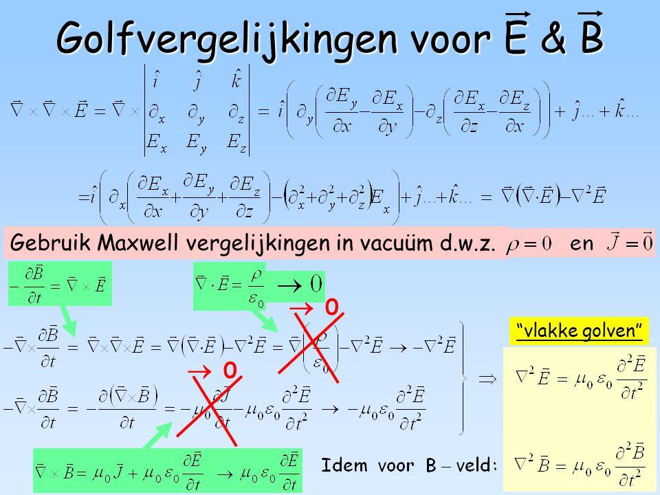 Golfvergelijkingen voor E & B