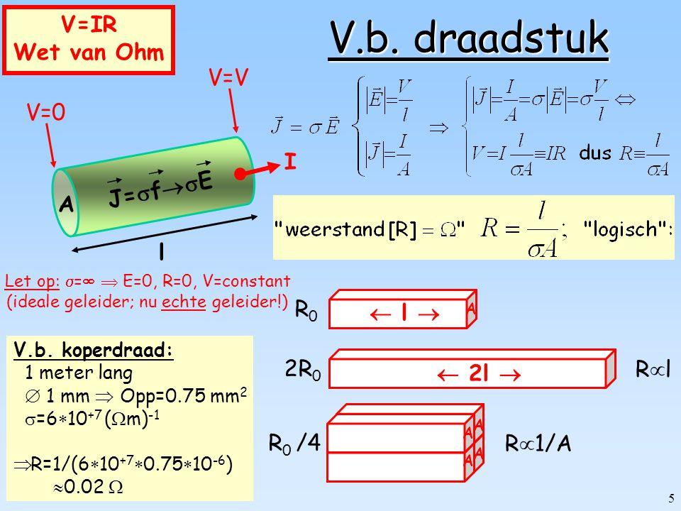 V.b. draadstuk V=IR Wet van Ohm A l V=0 V=V J=fE I R0  l  2R0 Rl