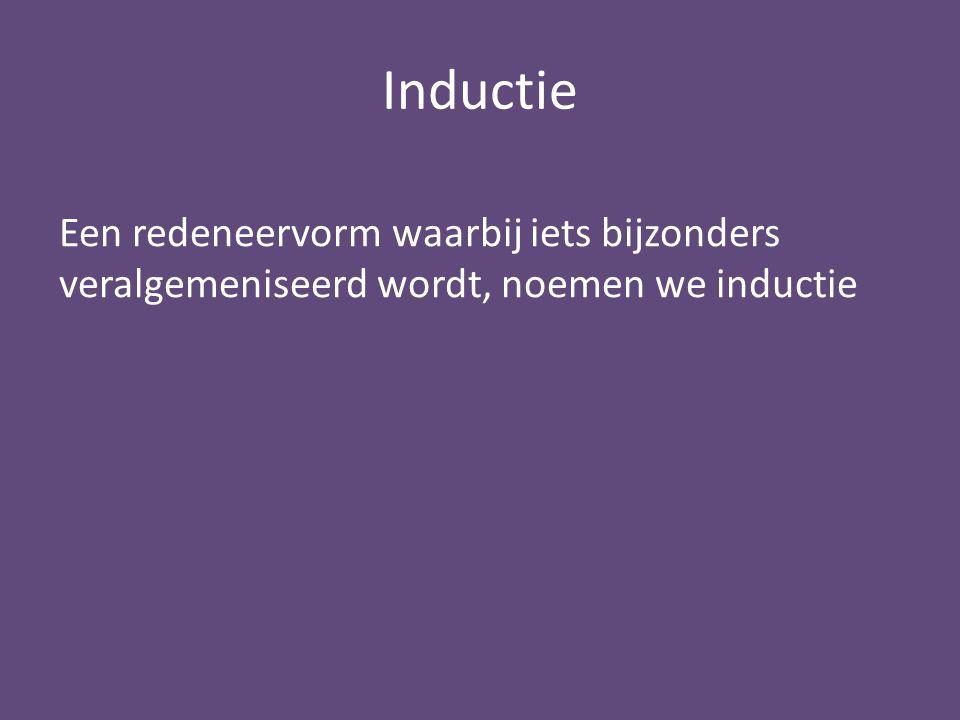 Inductie Een redeneervorm waarbij iets bijzonders veralgemeniseerd wordt, noemen we inductie