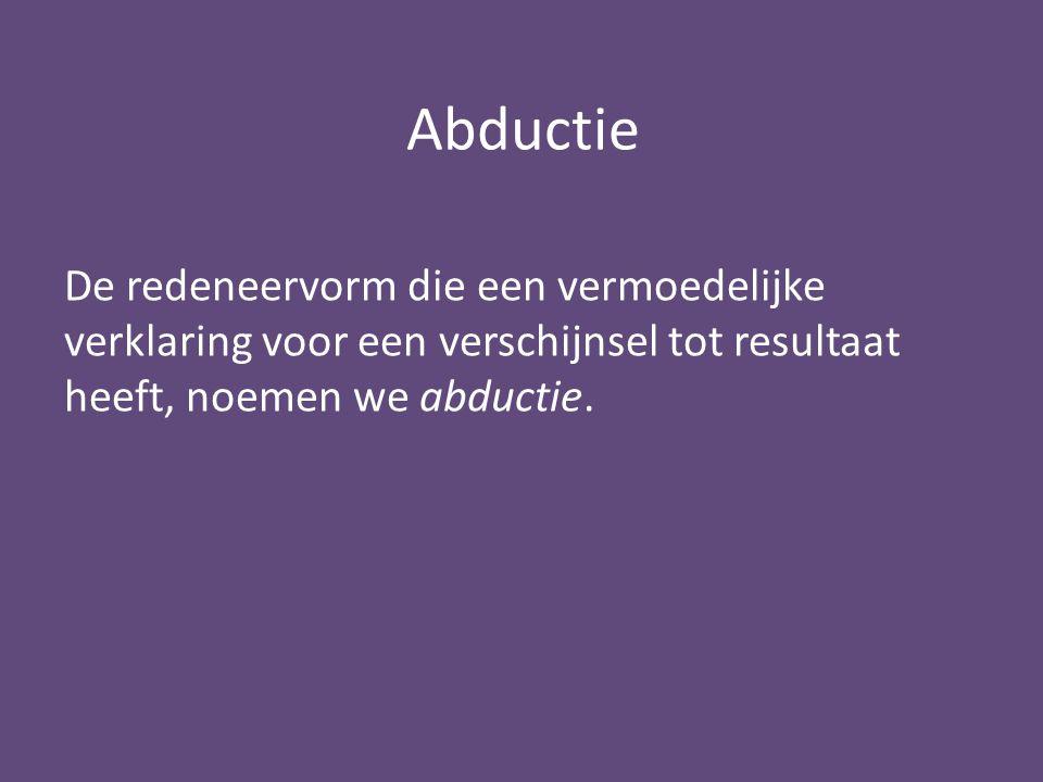 Abductie De redeneervorm die een vermoedelijke verklaring voor een verschijnsel tot resultaat heeft, noemen we abductie.