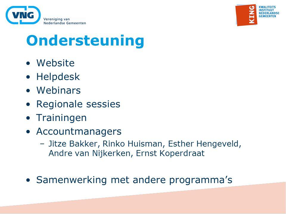 Ondersteuning Website Helpdesk Webinars Regionale sessies Trainingen