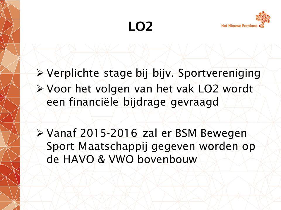 LO2 Verplichte stage bij bijv. Sportvereniging