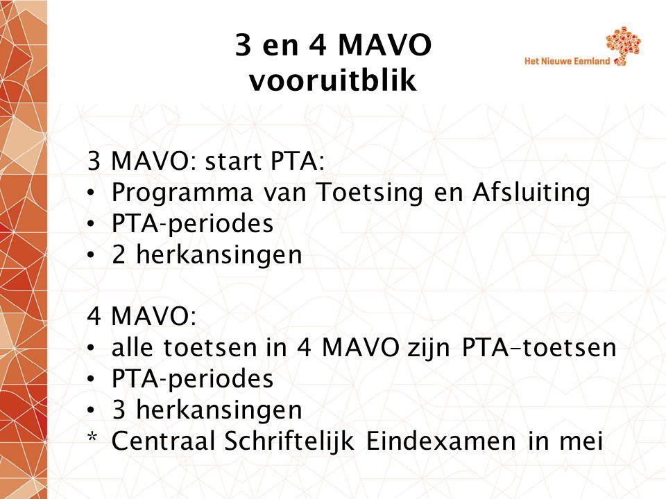 3 en 4 MAVO vooruitblik 3 MAVO: start PTA: