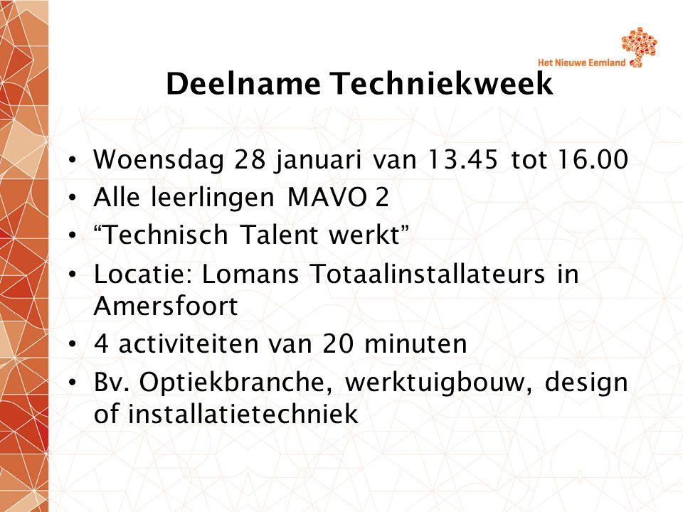 Deelname Techniekweek