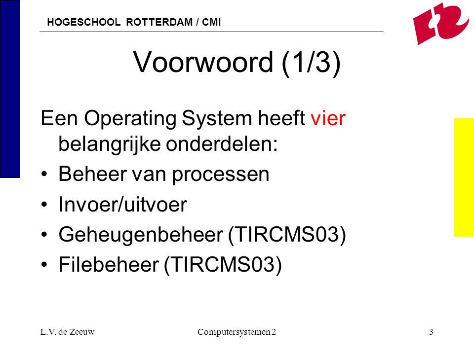 Voorwoord (1/3) Een Operating System heeft vier belangrijke onderdelen: Beheer van processen. Invoer/uitvoer.