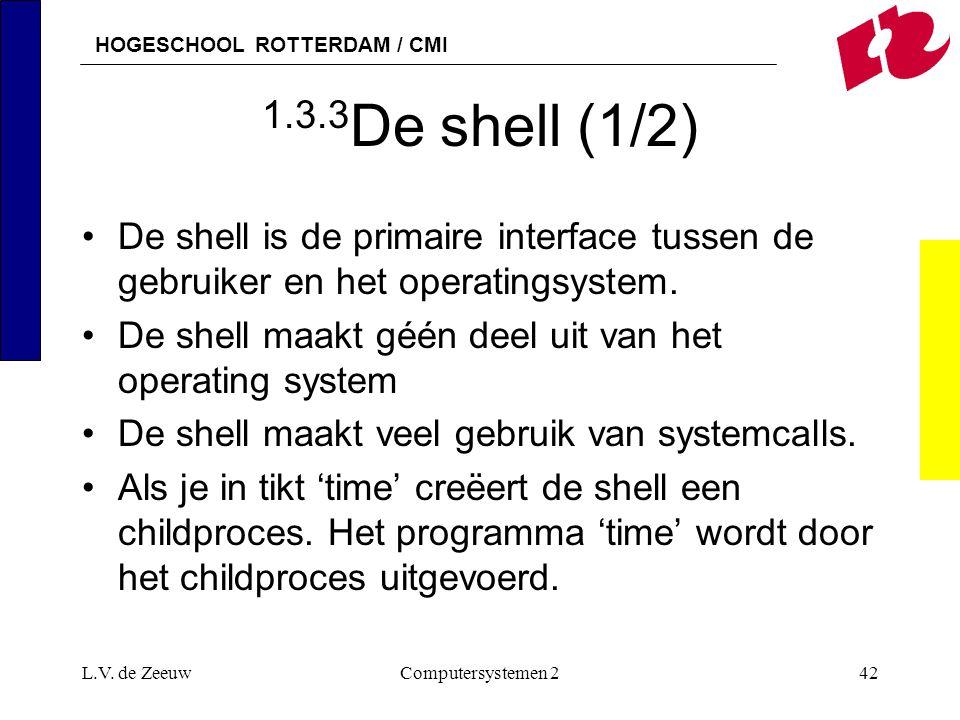 1.3.3De shell (1/2) De shell is de primaire interface tussen de gebruiker en het operatingsystem.