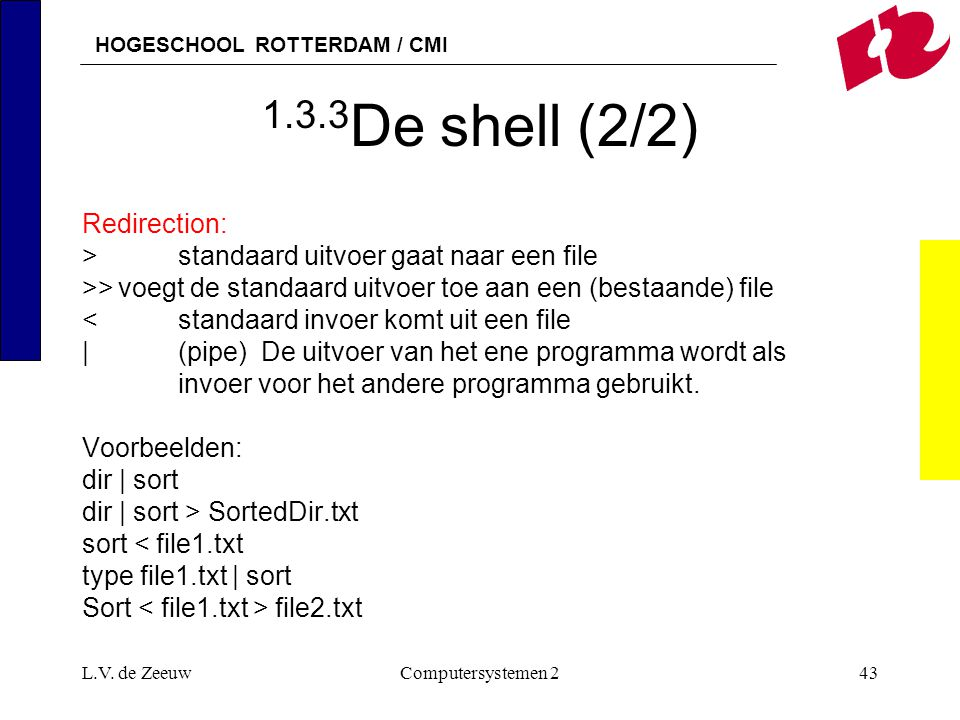 1.3.3De shell (2/2) Redirection: