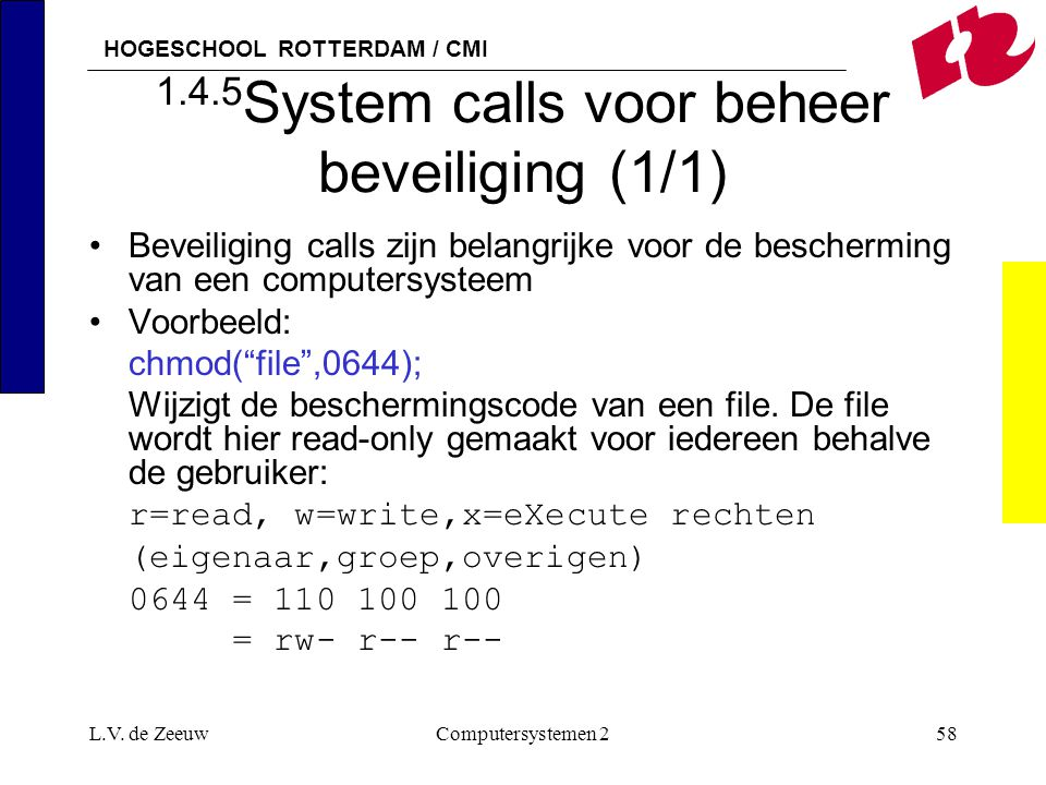 1.4.5System calls voor beheer beveiliging (1/1)