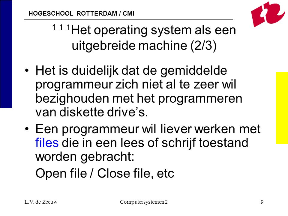 1.1.1Het operating system als een uitgebreide machine (2/3)