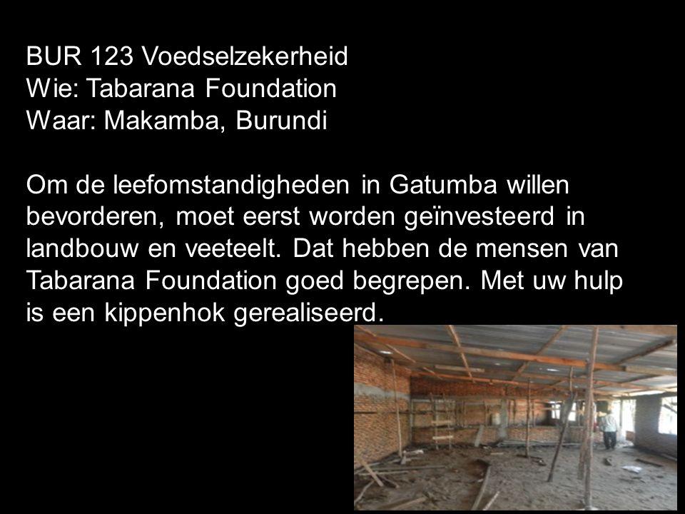 BUR 123 Voedselzekerheid Wie: Tabarana Foundation. Waar: Makamba, Burundi.