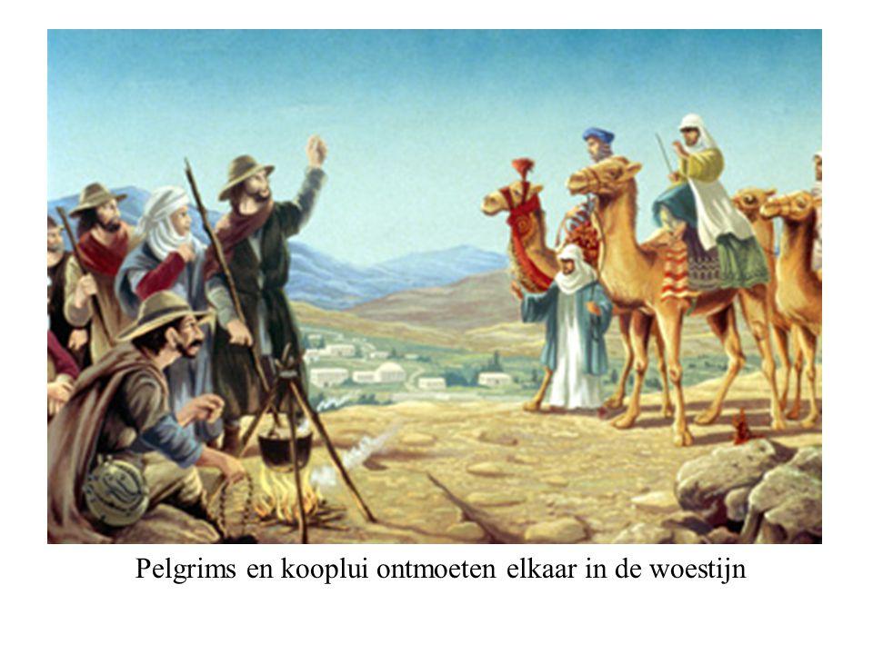 Pelgrims en kooplui ontmoeten elkaar in de woestijn