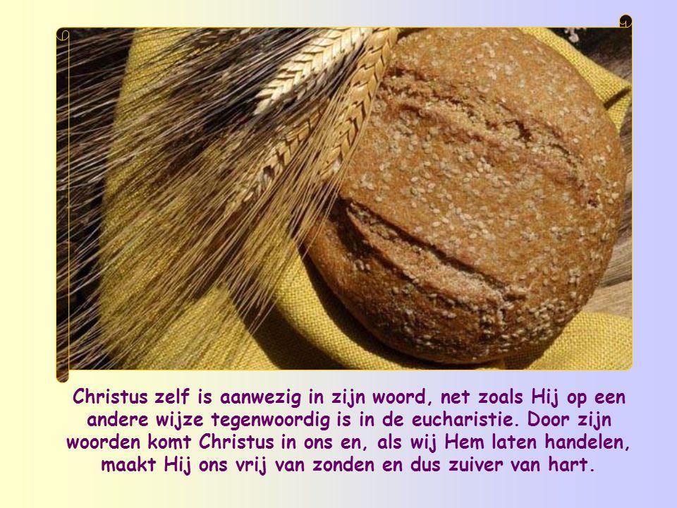 Christus zelf is aanwezig in zijn woord, net zoals Hij op een andere wijze tegenwoordig is in de eucharistie.