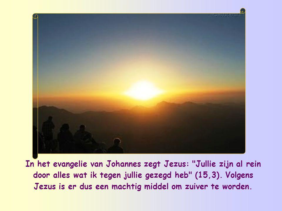 In het evangelie van Johannes zegt Jezus: Jullie zijn al rein door alles wat ik tegen jullie gezegd heb (15,3).