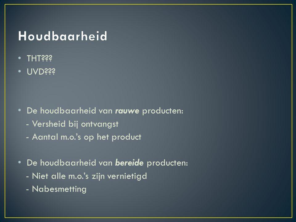 Houdbaarheid THT UVD De houdbaarheid van rauwe producten: