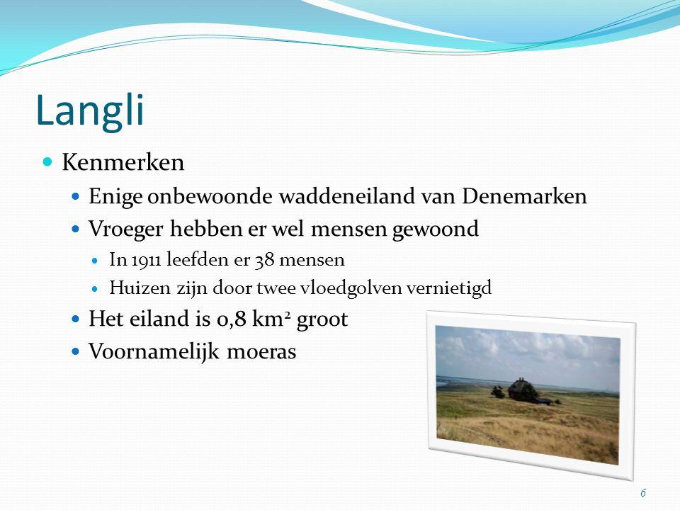 Langli Kenmerken Enige onbewoonde waddeneiland van Denemarken
