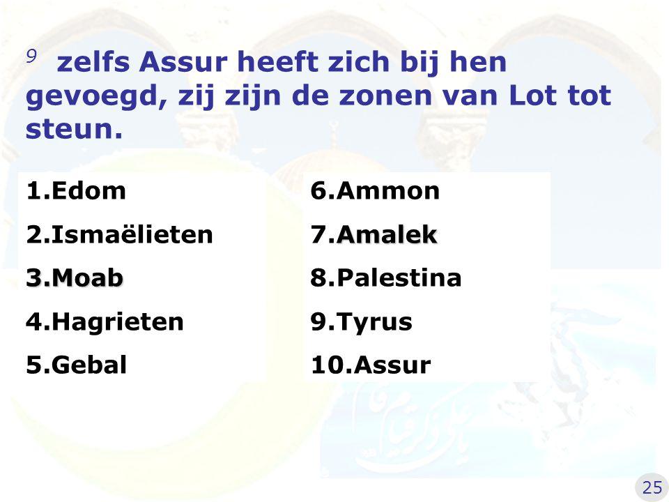 9 zelfs Assur heeft zich bij hen gevoegd, zij zijn de zonen van Lot tot steun.