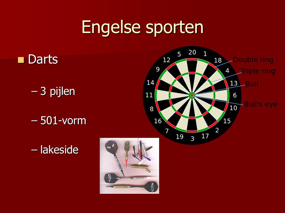 Engelse sporten Darts 3 pijlen 501-vorm lakeside