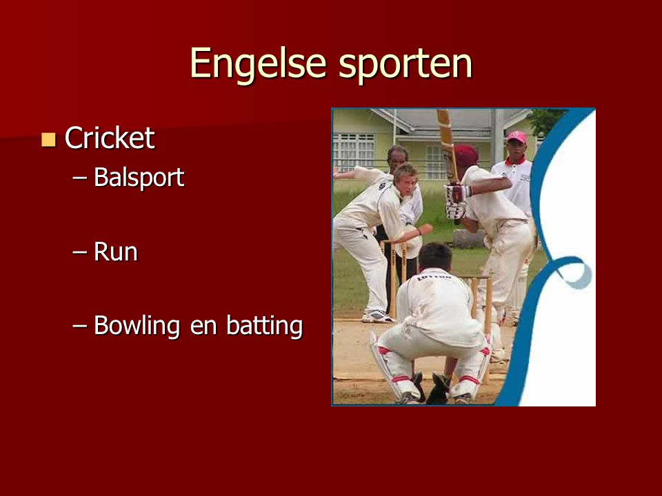 Engelse sporten Cricket Balsport Run Bowling en batting