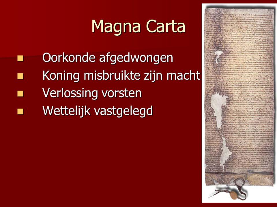 Magna Carta Oorkonde afgedwongen Koning misbruikte zijn macht