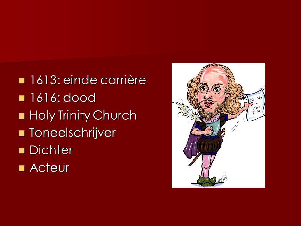 1613: einde carrière 1616: dood Holy Trinity Church Toneelschrijver Dichter Acteur