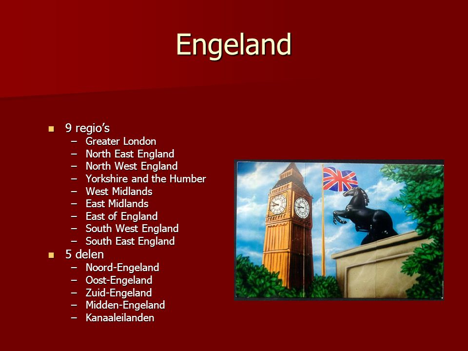 Engeland 9 regio's 5 delen Greater London North East England