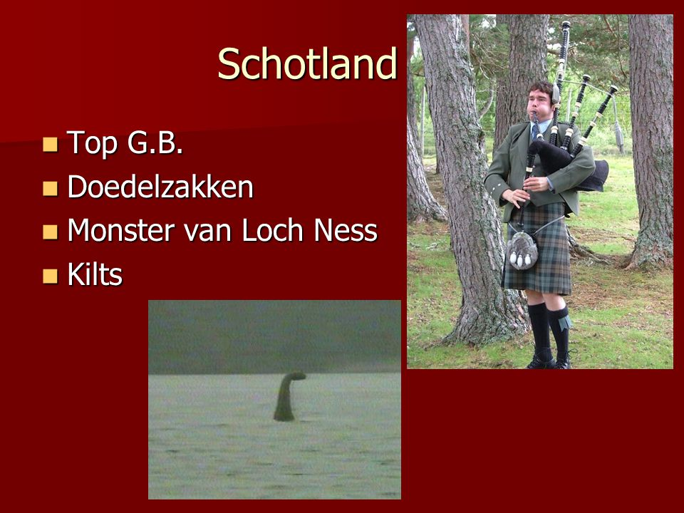 Schotland Top G.B. Doedelzakken Monster van Loch Ness Kilts