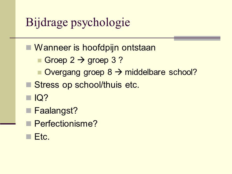 Bijdrage psychologie Wanneer is hoofdpijn ontstaan